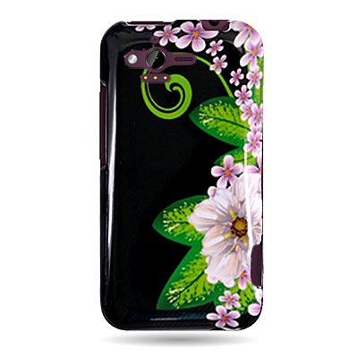 CoverON® Brand Hard Snap-on Shield With GREEN FLOWER Design Faceplate Cover Sleeve Case for HTC RHYME / BLISS / 6330 (VERIZON) with PRY Removal Tool Case [WCA112]
