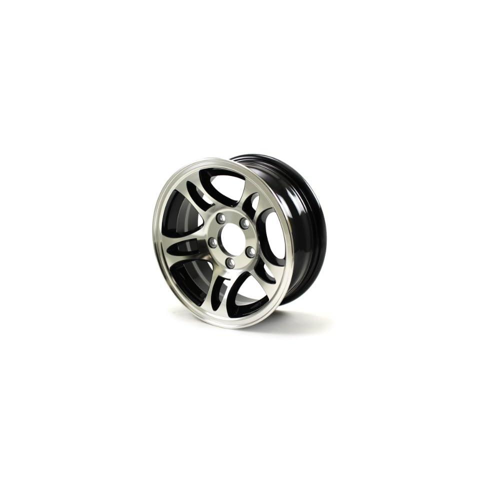 HWT S545545B 14X5.5 5/4.5 Aluminum S5 Trailer Wheel   Black inlay