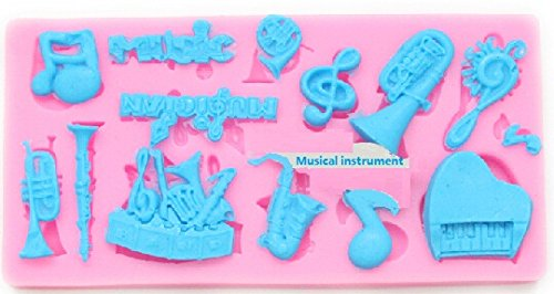 Allforhome Food Grade MUSICAL INSTRUMENTS Clef Notes Set fondant icing silicone Candy mold Sugarcraft Cake Decoration Moulds non stick Sugar paste Chocolate Fondant Resin Polymer Clay gum paste Molds