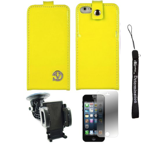 Yellow Patent Leather Wallet Carrying Case With Stand For Apple Iphone 5 Ios (6) Smart Phone + 360° Car Rotatable Windshield Mount Kit + Apple Iphone 5 Screen Protector + An Ebigvalue Tm Determination Hand Strap