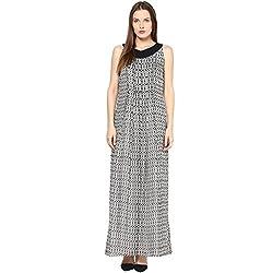 TAURUS WOMEN'S PLEATED MAXI DRESS (FDR-1567-WHT-Medium)