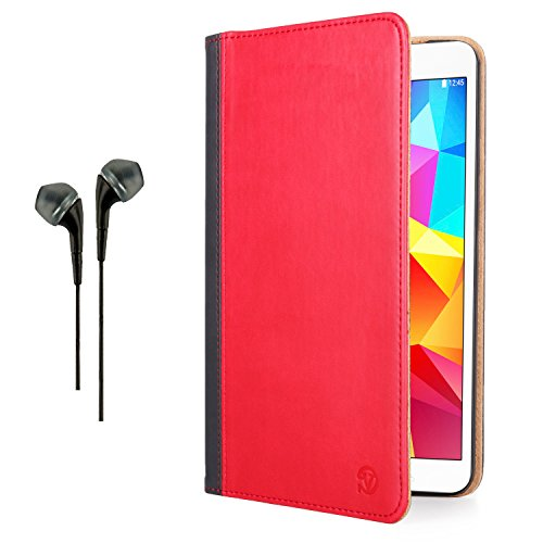 Vangoddy Mary Portfolio Fire Red Black Multi Purpose Book Style Slim Flip Cover Case For Samsung Galaxy Tab 4 8.0' Android + Black Hands-Free Microphone Earphones Headphones
