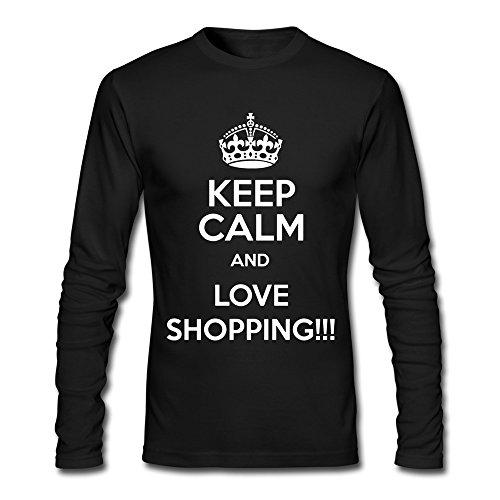 YLAUO Keep Calm-Maglietta a maniche lunghe in cotone nero L