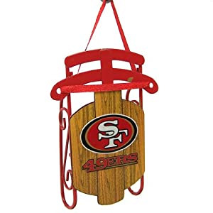 San Francisco 49ers Official NFL 3.5 inch Metal Sled Christmas Ornament