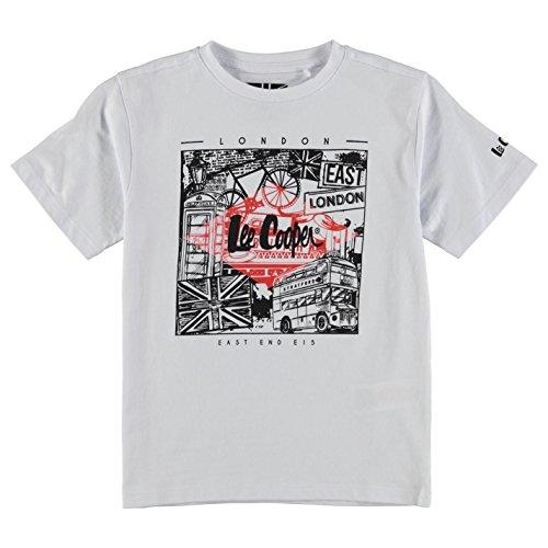 Lee Cooper bambini Junior ragazzo c Print Tee LDN-Maglietta girocollo a maniche corte Top bianco M