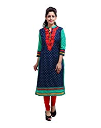 Gorgeous Blue Kurti Cotton Embroidered Floral XX-Large For Womens By Rajrang