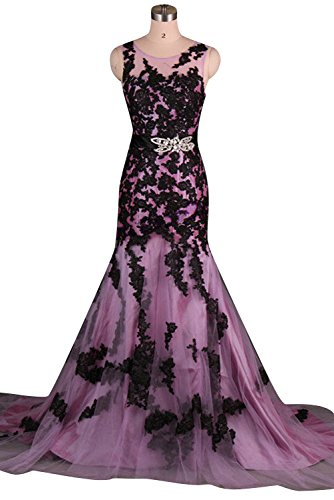 Sunvary Vintage Black Lace Mermaid Prom Evening Gowns for Woman 2015
