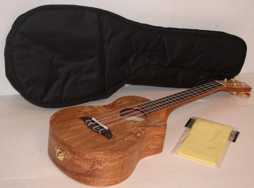 Oscar Schmidt Ou8Tlce Acoustic/Electric Tenor Ukulele, Spalted Maple Top, Back And Sides, Satin Finish, Includes Tms Polishing Cloth & Padded Gig Bag