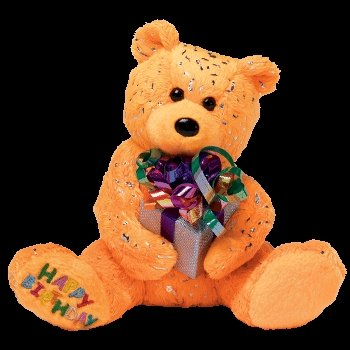 Ty Beanie Babies Happy Birthday the Bear ( Orange - W/ Present )