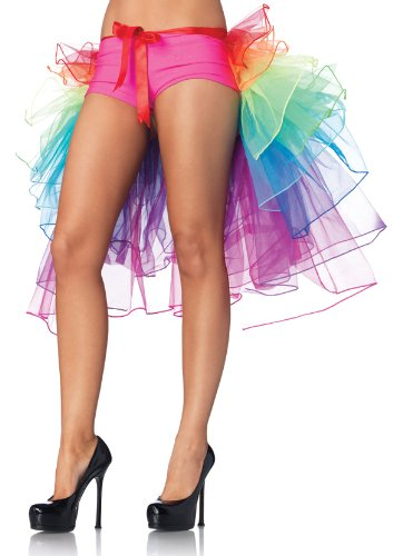 Fashion Moulin Rouge Vivid Rainbow Neon RaRa Raver Clubbing Half / Partly Bustle Ballet Dance Ruffle Multilayer Tiered Tulle Tutu Clubwear , Burlesque Costume Ribbon Tie Belt Skirt Party Fancy Dress Tail skirt One size