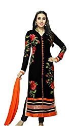 Aarna Fashion Black Heavy Embroidered Dress Materials