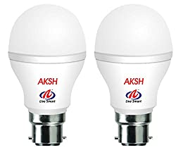 Aksh B22 9 Watt LED Bulb (Pack of 2, Cool White Light)