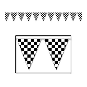 Checkered Outdoor Pennant Banner (black & white) Party Accessory  (1 count) (1/Pkg)