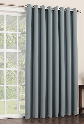 Sun Zero Easton Extra Wide Blackout Energy Efficient Grommet Patio Door Curtain Panel, 100 x 84 Inch, Mineral Blue (Blackout Curtains For Patio Doors compare prices)