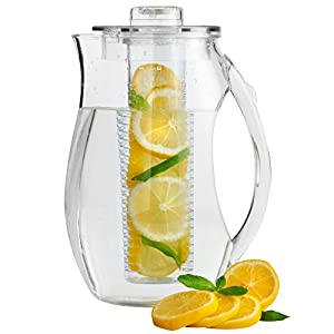 VonShef 2.7L Plastic Fruit Infusion Pitcher Jug. Infusion Core for Fruit Flavoured water and Iced Drinks