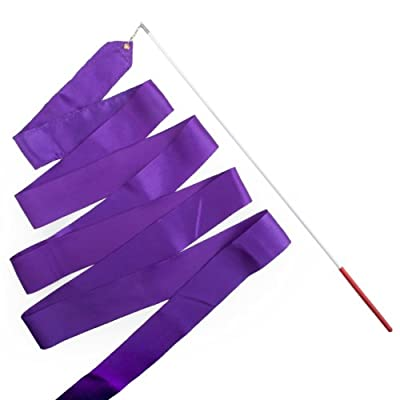 GOGO Purple Rhythmic Ribbons / Gymnastics Ribbon with Wand - 6 Sets