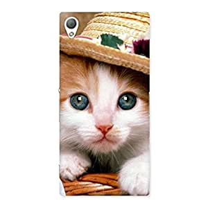 Stylish Cute Kitty Hat Multicolor Back Case Cover for Sony Xperia Z3