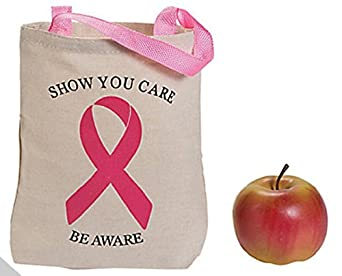 6 Breast Cancer Awareness Mini Canvas Tote Bags