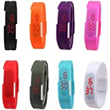 Digital Led Band Watch Set Of 08 For Kids-(Color May Very )-Fm