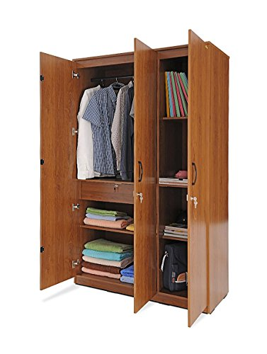 Zuari Three-Door Wardrobe (Natural Finish, Brown)