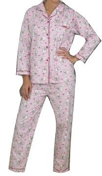 Ladies Long Sleeved Brushed Cotton Winceyette Button Front Teddy Design Pyjamas Pale Pink Size 18 to 20