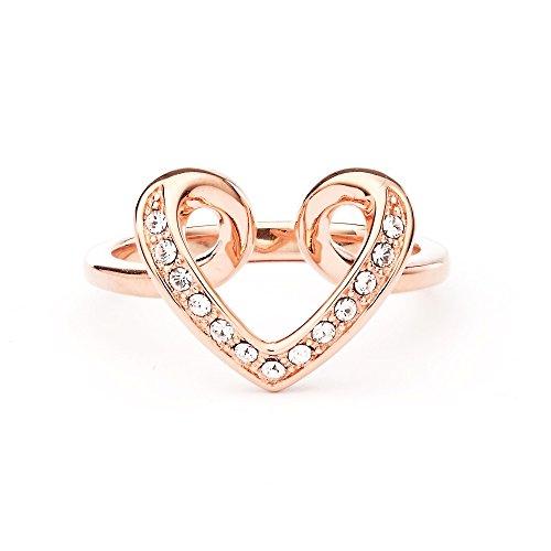 MYJS Cupidon cuore placcato in oro rosa, con cristalli Swarovski trasparenti e Placcato oro rosa, 13,5, cod. 1-1146ACLR175