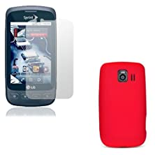buy Fosmon 2 In 1 Bundle For Lg Optimus S Ls670 - 1X Fosmon Soft Protective Silicone Case (Red), 1X Crystal Clear Screen Protector
