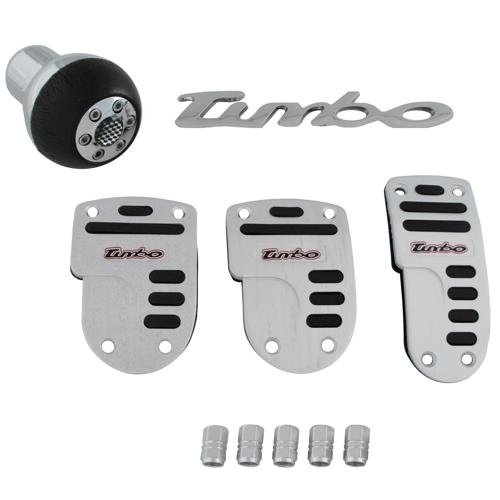 Turbo Car 10pc Tuning Set Gear Knob, Pedal Covers, Decal & Valve Caps