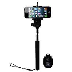 Shopizone Extendable Selfie Monopod Stick with Bluetooth Remote for All Smartphones - Black