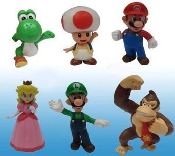Popco Super Mario Series 1 Set of 6 Mini Party Figures Mario, Peach, Toad, Luigi, Yoshi Donkey Kong - 1