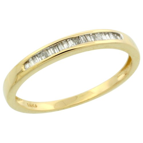 14k Gold Ladies' Diamond Ring Band, w/ 0.12 Carat Baguette & Brilliant Cut Diamonds, 1/8