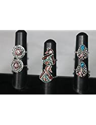 NAK's Combo Of 3 German Silver Toe Rings,Peacock Toe Ring Included - SKUTR113