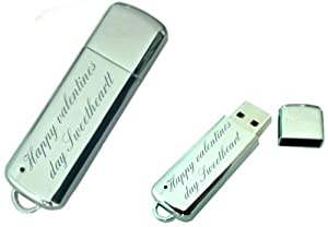 Happy valentines day sweetheart Engraved 8GB USB Chrome Memory Stick with gift pouch