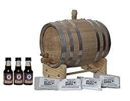 3-Liter American White Oak Barrel Unfinished with Bright Steel Bands Bourbon Kit with Cleaning Kit