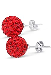 It's Sterling Silver 6mm each 925 Crystal CZ 2 Carat Total Weight Stud Earrings. Choose from 16 Colors