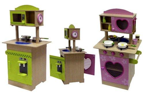 Top Spielküche Kinder Küche aus Holz beidseitig mit Zubehör ...