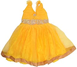 Kanchoo Girls' Short Frock (BSKF043_5-6 Years, Yellow, 5-6 Years)