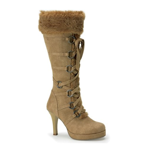 Women High Heel Boots 3 3/4'' Sexy Tan Knee High Fur Trim Viking Theatre Costume