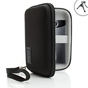 USA Gear Hard Shell Carrying Case with Accessory Pouch for Select Sony Bloggie & More Pocket Camcorders ** Includes Mini Tripod **