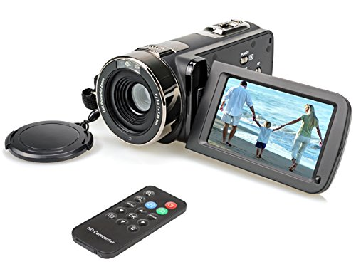 Hausbell 302S FHD Camcorder 1080p Remote Control Infrared Night Vision Digital Video Camera with 32G SD Card and Touchscreen (Black) (Top Rated Camcorders compare prices)