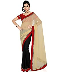 RockChin Fashions Beige and Black half n half saree
