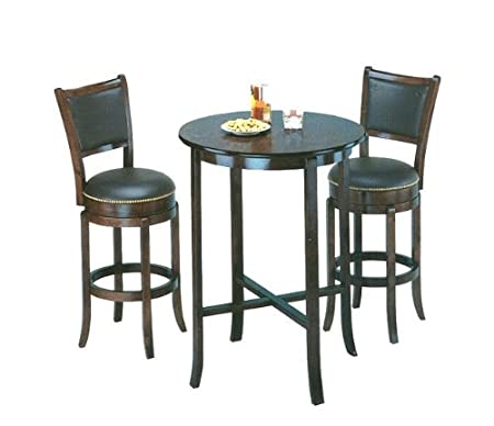 Pub Table Set with 2 Leather Chairback Swivel Bar Stools