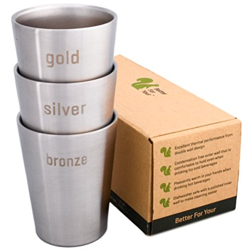 Better For Your - Small Stainlesss Steel Double Wall Small Tumbler Cups - 8oz (250ml) - Set of 3, Literal Colors - Gold - Silver - Bronze