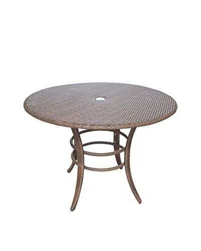 Panama Jack Key Biscayne Woven 42 Round Dining Table, Antique Brown