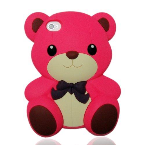 3D Dark Pink Big Teddy Bear Hybrid case cover