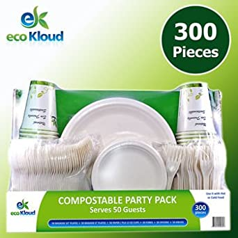 eco Kloud Compostable Party Pack with Plates, Cutlery, Cups (Set of 50) by eco Kloud