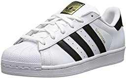adidas Originals Women\'s Superstar Foundation Casual Sneaker, White/Black/White, 8 M US