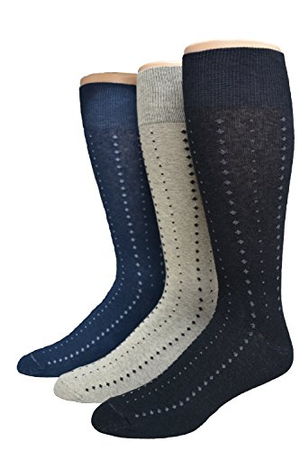 Men's Big & Tall Classic Patterned Dress Sock Asst. 3pr pack Navy, Black, Khaki Big Tall Dress Clothes