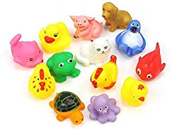Toybb 8pcs Random Lovely Rubber Squeaky Animal Bath Toys/floating Fun for Baby
