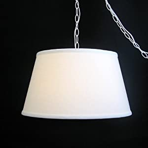 upgradelights swag light pendant lamp shade in off white linen. Black Bedroom Furniture Sets. Home Design Ideas